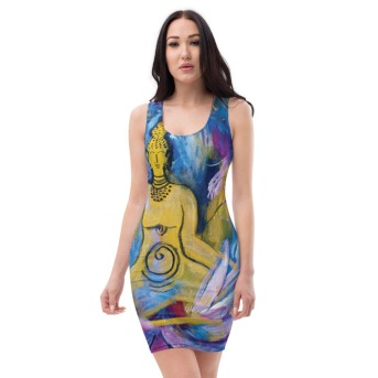 Cosmic Golden Buddha Front Fitted stretchdress